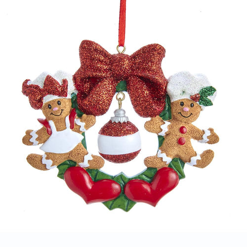 Kurt Adler Gingerbread Wreath Family Of 2 Ornament, W8437