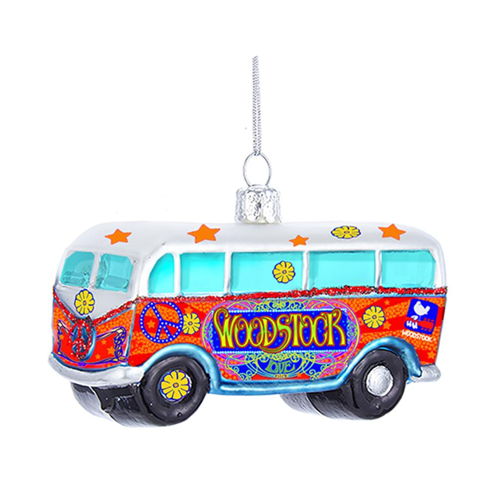 Kurt Adler Woodstock Glass Bus Ornament, WO4181