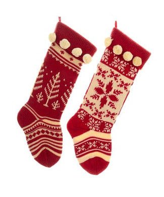 Red and White Knitted Stockings, 2 Assorted, B0667