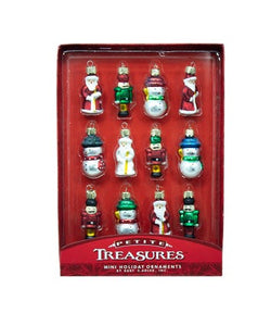 Kurt Adler Petite Treasure Miniature Glass Shape Ornaments, 12-Piece Box, C2317