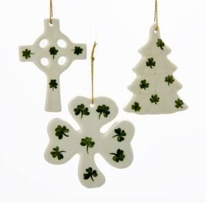 Irish porcelain tree, cross, and shamrock ornament