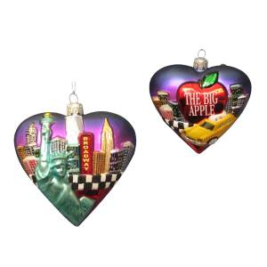 Kurt Adler New York City Heart Cityscape Glass Ornament, C7548