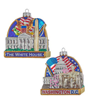 Washington DC Cityscape Glass Ornament