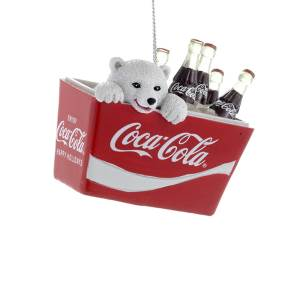 Kurt Adles Polar Bear Cub in Coca-Cola Cooler Ornament, CC2115