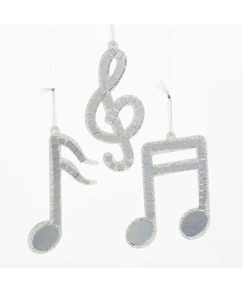Silver Mirror Musical Note Glass Ornaments, 3 Assorted, D0263
