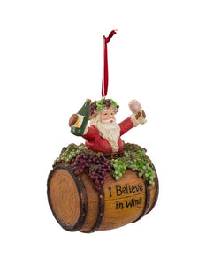 "Santa On Wine Barrel Saying ""I Believe in Wine"" Ornament, D0810"