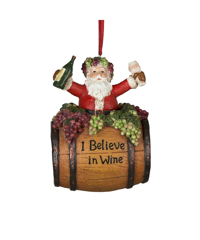 Santa On Wine Barrel Saying