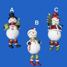 Claydough Snowman with Dangle Leg Ornament for Personalization, D0857