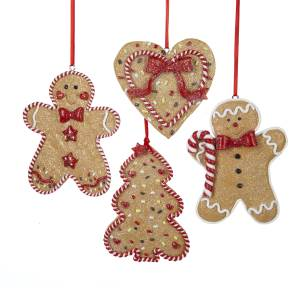Gingerbread Men, Tree and Heart Ornament - 4 Assorted. D1194