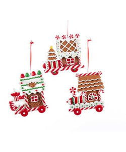 Gingerbread Train Ornaments, 3 Assorted, D1752
