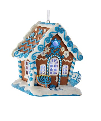 Gingerbread LED Hanukkah House Ornament, D3017