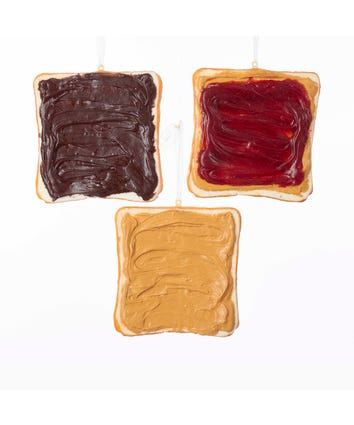 Sliced toast sandwich ornament, peanut butter, peanut butter and jelly, and NUTELLA spread.