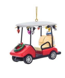 Golf Cart With Wreath Ornament, D3444
