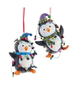 Penguin With Christmas Lights Ornaments, 2 Assorted