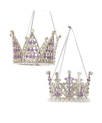 Royal Splendor Purple and Silver Crown Princess Ornaments, 2 Assorted