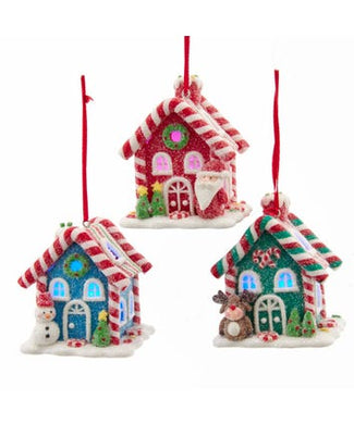 Battery-Operated LED Gingerbread Candy House Ornaments, 3 Assorted