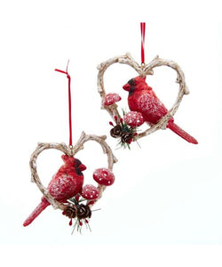 Cardinal Birds In Heart Frame Ornaments, 2 Assorted, D3892