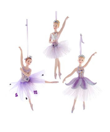 Royal Splendor Purple and Silver Ballerina Ornaments, 3 Assorted