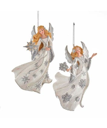 Silver and White Angel Ornaments, 2 Assorted, E0384