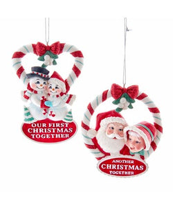 "Retro Snow Couple ""Our First Christmas"" Ornament"