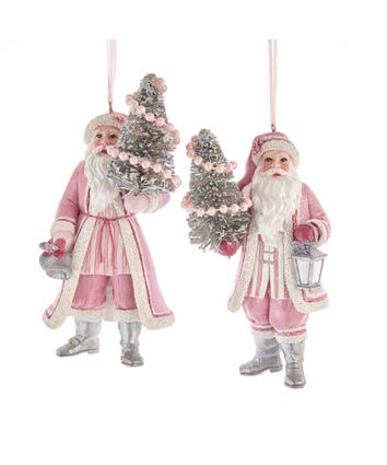 Pink and White Santa Ornaments with Tinsel Tree, 2 Assorted, E0450