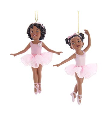 African Ballerina Girl Ornament, 2 Assorted, E0481