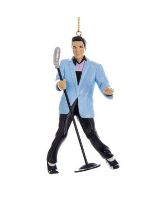 Elvis® Blue Suit Hound Dog Elvis With Microphone Ornament, EP2171