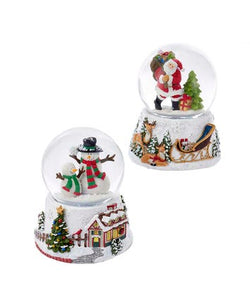 100MM WIND-UP MUSICAL SNOMOTION SANTA & SNOWMAN WATERGLOBES