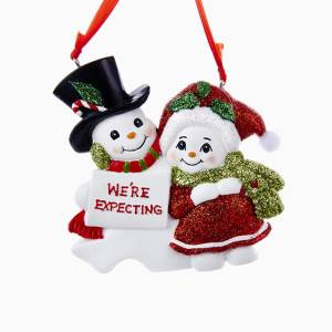"Snow couple  Personalization ""We're Expecting"" New Mom and Dad Ornament, H5086"
