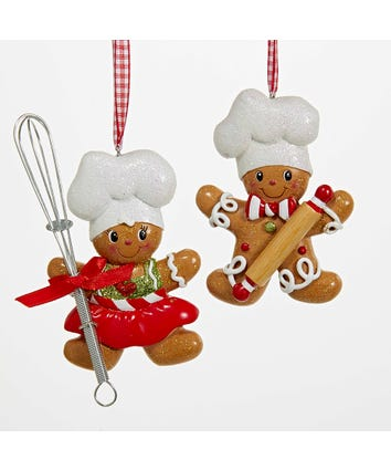 Gingerbread Boy and Girl Chef Ornaments For Personalization, 2 Assorted, H5099