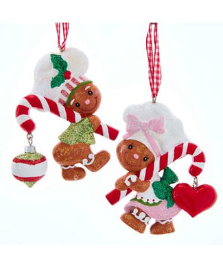 Gingerbread Boy and Girl With Candy Cane Ornament For Personalization, H5992