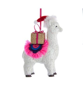 White Glittered Llama Ornament, H7540