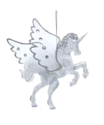 Silver Glittered Unicorn With Wings Ornament, H7559