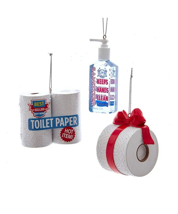 Hand Sanitizer and Toilet Paper Ornaments, 3 Assorted