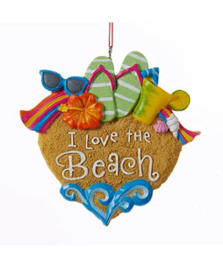 """I Love The Beach"" Ornament"