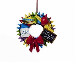 "Crayon Wreath ""A+ Teacher-To Teach Is To Touch The Future"" ornament"
