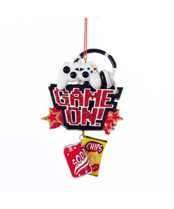 """Game On!"" With Soda and Chips Dangle Ornament"