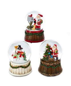 Musical Santa and Snowman Water Globes, 3 Assorted, J3254