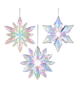Kurt Adler Purple, Blue, Pink Iridescent Snowflake Ornaments, 3 Assorted, J4763