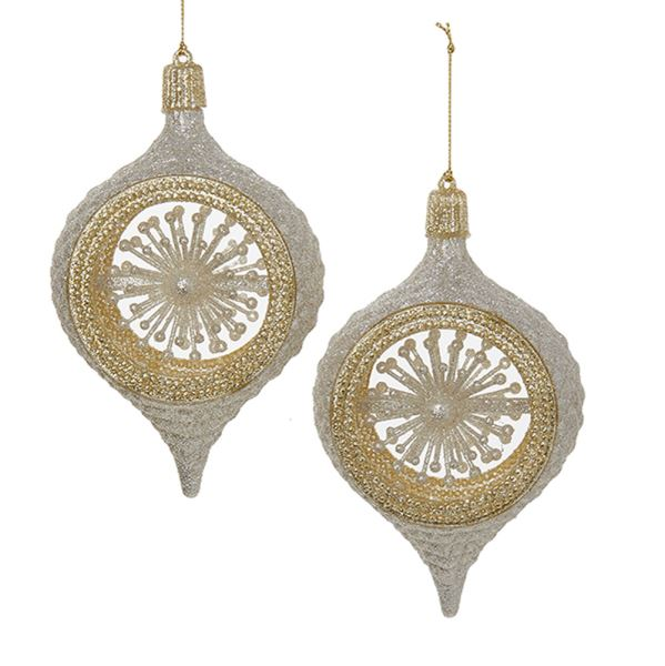 Glitter Silver & Gold Ball & Finial Shape Ball Ornament, J5009