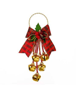 Jingle Bell Door Hanger With Bow, J5025