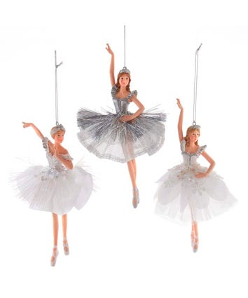 White and Silver Ballerina Ornament, 3 Assorted