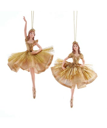 Gold Ballerina Ornaments, 2 Assorted, J7436