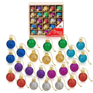 1 inch Multicolor Mini Glitter Glass Ball Ornaments