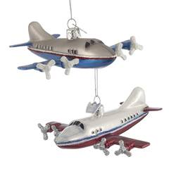 Kurt Adler Noble Gems Airplane Glass Ornaments, 2 Assorted, NB1010