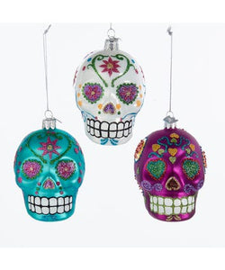 "Noble Gems™ Sugar Skull ""Dawn of the Dead"" Glass Ornament, 3 Assorted, NB1071"