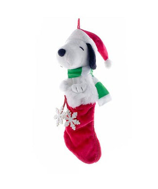 Peanuts© Plush Head Snoopy Stocking With Snowflake Dangles, PN7111