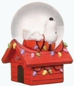 Roman Peanuts Snoopy on Doghouse Mini Christmas Snowglobe (2-3/4 inches Tall)