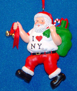 "Resin ""I Love NY"" Shopping Santa Ornament With Bag & Bell, W1636"