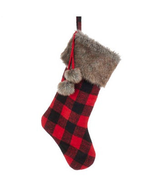 Country Red and Black Plaid Stocking With Brown Faux Fur Cuff and Pom-Poms, SG0172